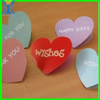 Yiwu 2015 new arrived attractive custom made heart shape handmade greeting card