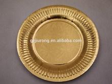 custom printed round shape food grade gold paper plate