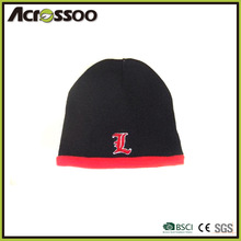 two tones cheap knitted hat, custom logo embroidered knitted beanie