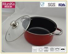 Steel-Handle red Soup Pot,carbon steel enamelware casserole pan and pots