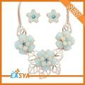 in alto nuova moda bigiotteria prezzo di fabbrica di porcellana blu pietra artificiale da sposa pakistani insieme dei monili fiore
