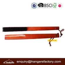 custom cherry color wood long handled shoe horn