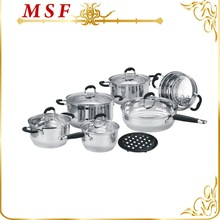 Happy baron 12pcs stainless steel cookware set stone chef thermo pot great combination with underlay & steamer MSF-3155