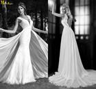 LI-477 Plunging Neck Open Back Lace Wedding Dresses Removable Skirt