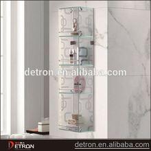 High quality tempered glass ceramic bathroom corner shelf