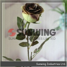 Artificial velvet rose flower, chocolate Crown Rose for arrangement, real touch artificial flower