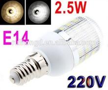 220V E14 2.5W 48 SMD3528 LED Corn Light Bulb Lamp with Cover White/Warm white Led Lighting