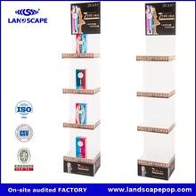 supermarket furniture 5 layer retail shampoo display stand/white l shape cardboard makeup bottle display stand