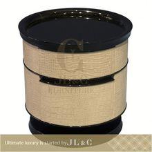 2014 New postmodern oxhide leather elegant italian style wicker nightstand, JB02-03 from china supplier-JL&C Furniture