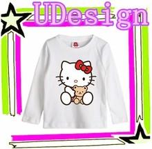 Hello kitty children clothing girls printed t shirts hello kitty design for t-shirt