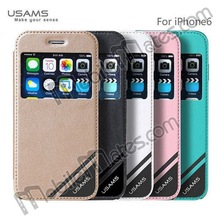 USAMS Ultra Thin Leather Case for iPhone 6 4.7 inch, View Window Flip Cover for iPhone6 for iPhone 6 Plus