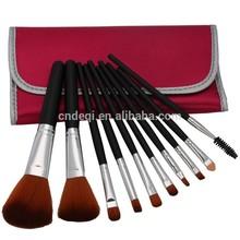 Professional 10 Pcs Makeup Make up Cosmetic Brushes Set Kit Eyeshadow Eyelash Eyebrow Lip Powder Blush Brush with Peach Bag Case