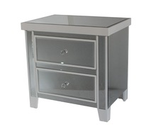 2 Drawer Wooden White Mirrored Nightstand/Bedside Table/Chest