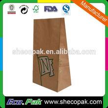 Brown kraft grocery papre bag, take away paper bag, kraft paper bag