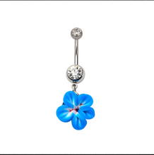 14g Navel with purple polymer clay flower dangle belly rings