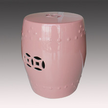 Hot selling chinese jingdezhen ceramic stool with pink color for home decorative
