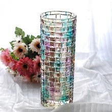 Colorful K9 Crystal Rose with Vase for wedding gifts or centerpiece