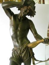 Antique Estate Signed A Carrier Bronze Half Nude Musician Man Statue Figurine BS371A