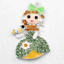 RP1106014 Bling Princess Rhinestone Pendant Chunky Necklace Girls Pendant Alloy Plated