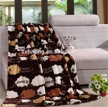 100%polyester good hand feeling Cartoon Design Lovely Sheep flannel fleece blanket