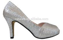Beautiful Silver PU High Heeled Shoes Women Simple PU Dress Shoes Comfort Office PU Footware
