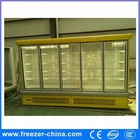 multi deck supermarket freezer display for ice cream with glass sliding door