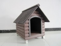 dark gray dog houses with wooden material