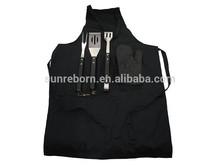 5 pcs apron bbq set with wooden handle