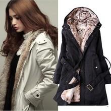 women's Faux fur lining fur Hoodies coats winter warm long coat jacket cotton clothes thermal parkas 3450#