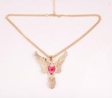 2015 gold alloy fairy hawk/eagles wing large rhinestone eagle necklace