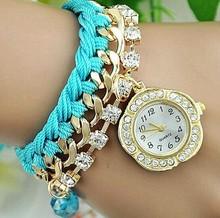 New arrival fashion accessories braided gold chain rhinestone vogue watch
