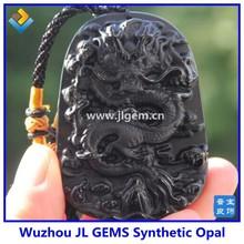 2015 New Obsidian Natural crystal Carving Dragon Fly Pendant Black Obsidian Pendant