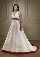 Halter Empire Waist Embroidery burgundy and ivory wedding dresses
