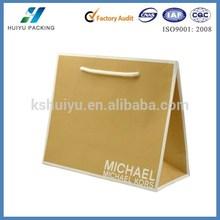 Environmental brown kraft paper shoppint bag for women handbag