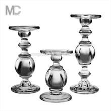 Wholesale Elegant Wedding Decorative Long-stemmed Tall Crystal Glass Candle Holder