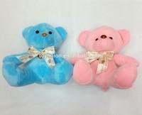 custom wholesale baby kids stuffed animal toy handmade stuffed plush toy bear/18cm plush bear with ribbon