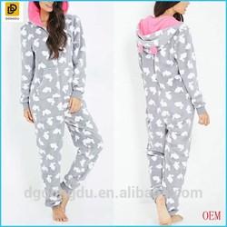 2014 Hot Selling Bunny Print Plush One-pieces Women Pajamas/Sleepwear