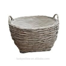 Grey Wash wicker Birds Nest
