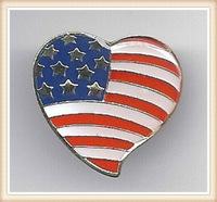 Top Quality Factory Sale Custom Promotional Gift Metal Craft Heart Shaped US Flag American Flag Lapel Pin Badge