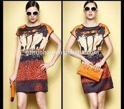 elegant short sleeve dresses/wonderful wild printed pattern for elegant short sleeve dresses