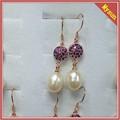 Mode longues riz forme d'eau douce perle boucles d'oreilles