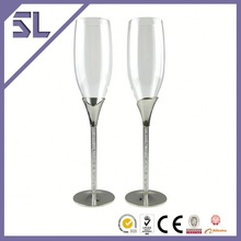 hand blown blue-tinted glass champagne flutes mini champagne glass cup
