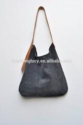 Custom Leather tote bag grey leather shoulder bag