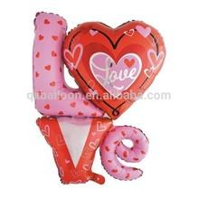 LOVE shaped aluminium foil balloon