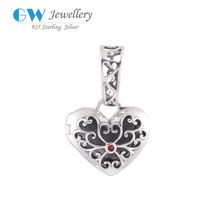 Openable Heart Pendant Charms Sterling Silver Charm Fit 925 Silver Bracelet Floating Charm Locket