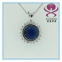 latest blue sapphire CZ pendant