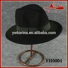 Winter 100% Wool Felt Hat Round Wide Brim Fedora Ribbon Black