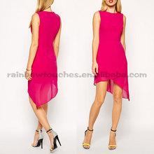 wrap front asymmetrical step hem chiffon evening dress