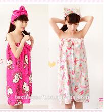 wholesale 100% cotton customized bathrobe women bath towel wrap
