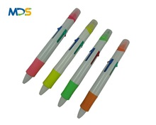 Fancy color highlighter ink pen, plastic highlighter pen with writing ball pen